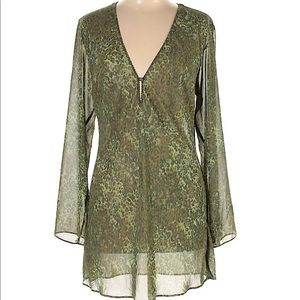 Victoria's Secret Womens Large Dress Green Leopard